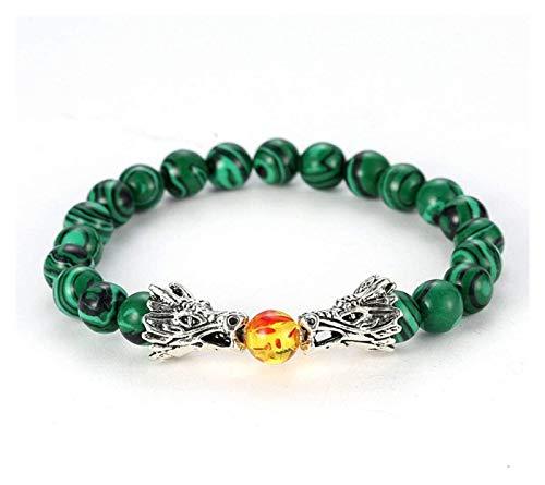 Pulsera con sistema solar, pulsera de piedra para mujer, 7 chakras, pulsera de piedra natural Berf naranja Beads Green Stripe, pulsera semielástica con doble dragón para parejas