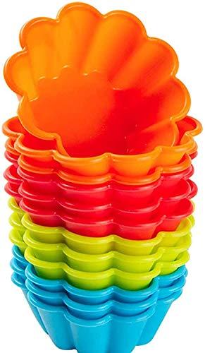 Webake Brioche Backformen Silikon 12 Stück Briocheform 7,6 cm Cupcake Formen Silikonform Muffinförmchen für Bronnies Kuchen Pudding