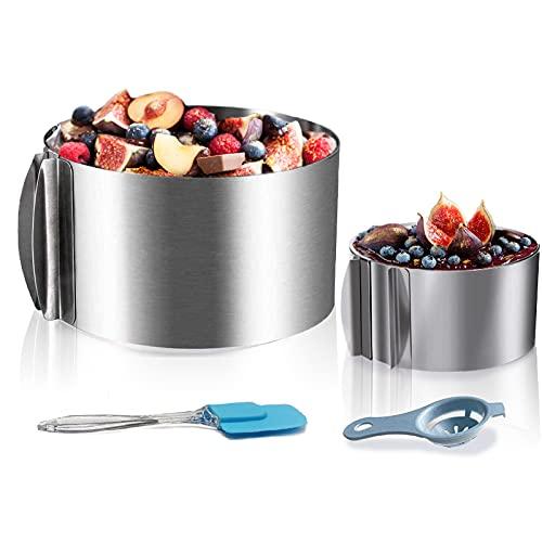huanniu-2 dehnbare Kuchenringe, der große Tortenring Ø 16 – 30 cm mit abgestufte Skala, der kleine Kreis Ø 6 – 10 cm, mit Eiertrennerund Spatel, rund Backrahmenfür alle runde Desserts.