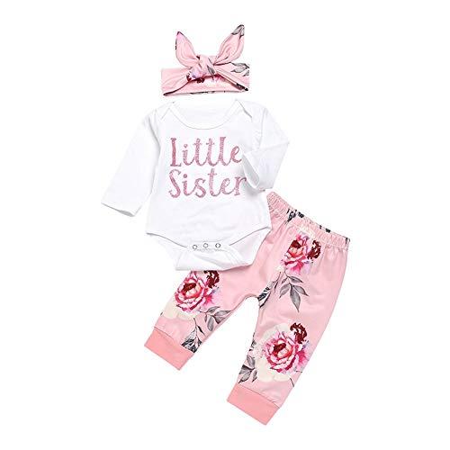 Shiningbaby Baby Mädchen Kleidung Set Little Sister Strampler Top und Rose gedruckt Hose und Stirnband 3 Stück Outfit