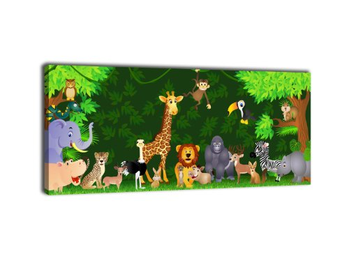 wandmotiv24 Leinwandbild Panorama Nr. 204 Urwaldparty 100x40cm, Keilrahmenbild, Bild auf Leinwand, Kinder Tiere Comic