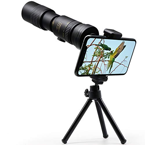 4K 10-300X40mm Super Telephoto Zoom Monocular Telescope, Binoculars for Adults, Low Light Night Vision Monocular with Smartphone Holder & Tripod for Bird Watching Hunting Camping Travelling Hiking (A)