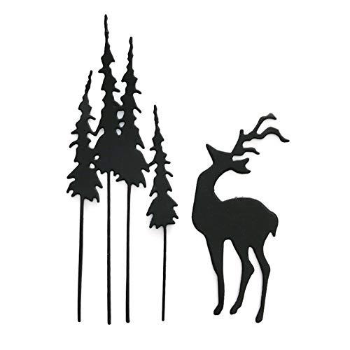 Quanjucheer - Set di 6 fustelle a forma di fiocco, per scrapbooking, album fotografici, decorazioni in rilievo, ideali come regalo di compleanno Tree Deer