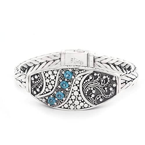 Shadi, étnico - Pulsera artesanal de plata y topacios azules (joyería de plata artesanal - regalo - mujer - hombre - Navidad - Reyes - cumpleaños)