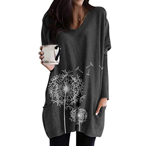 SANFASHIONPull Robe Femme T-Shirt Long Imprime Chat PapillonPissenlit Pullover Manches Longues Tops Col Ronde Blouse Poche Shirt Grande Taille Loose Chic Simple