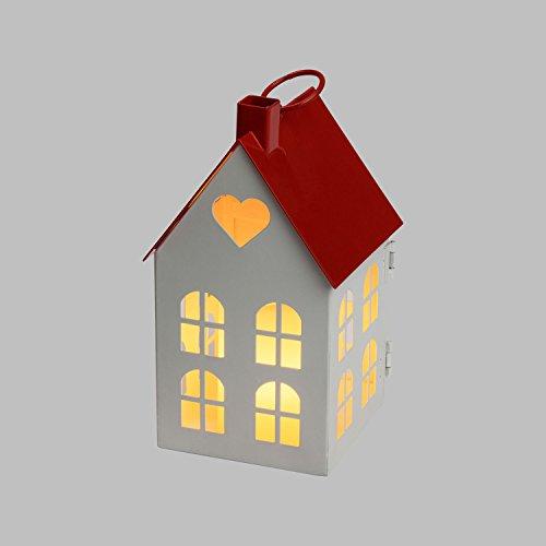 Lanterna casetta in Metallo Bianco e Rosso h 16,5 cm, Candela in Cera Avorio a Batteria, LED Bianco Caldo