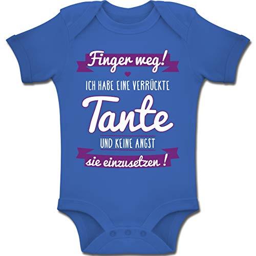 Shirtracer Sprüche Baby - Ich Habe eine verrückte Tante Lila - 3/6 Monate - Royalblau - BZ10 - Baby Body Kurzarm für Jungen und Mädchen