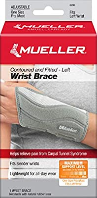 Mueller Fitted Wrist Brace, Gray, Left Hand, One Size Fits Most