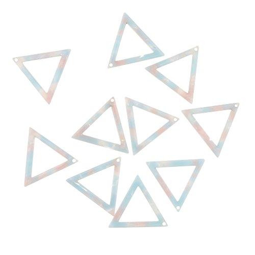 B Baosity 10 Piezas Triángulo Enmarcado Colgante Conectores Collar Pendientes Joyería - Blanco Plateado 24 mm - Azul Claro 24 mm