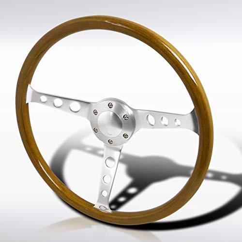 Autozensation 370MM 14.75' Aluminum Spokes Vintage Classic Wooden Wood Grain Steering Wheel