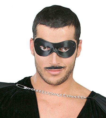 FIESTAS GUIRCA Máscara Pierrot máscara de Tela de dominó Negro