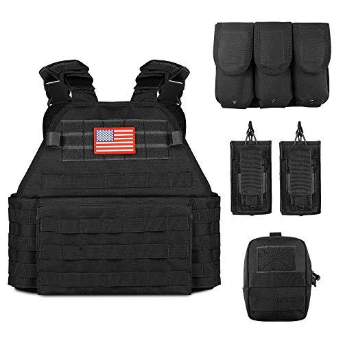 Obemisk Tactical Vest Outdoor Lightweight Combat Training Vest Adjustable & Breathable for Adults 600D Polyester Black