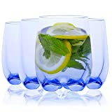 4 Pcs 225ml Bicchieri Acqua Set di Bicchieri di Plastica Acrilica Vetro, Bicchieri Retro Tumbler Plastica Premium Infrangibile Riutilizzabile Bicchieri in Plastica Trasparente Bicchieri da Acqua Blue