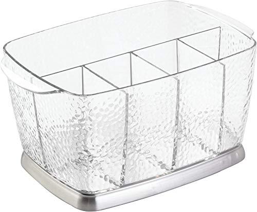iDesign Rain tragbare Aufbewahrungsbox für Besteck und Servietten, Besteckhalter aus Kunststoff und Edelstahl, durchsichtig und silberfarben