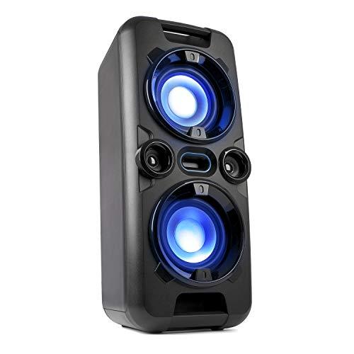 Blaupunkt Party-Lautsprecher PS 1000, Lautsprecher mit Bluetooth, Musikanlage mit integriertem Akku, AUX-IN, UKW-PLL-Radio, 60W RMS, USB, inkl. Mikrofon, als Karaoke-Anlage nutzbar schwarz