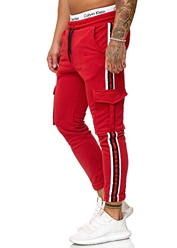 OneRedox Herren | Jogginghose | Trainingshose | Sport Fitness | Gym | Training | Slim Fit | Sweatpants Streifen | Jogging-Hose | Stripe Pants | Modell 1224 Rot L