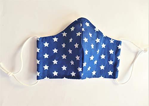 Kinderschutzmaske Mund- und Nasenschutz für Kinder, Kindermundschutz, Mundschutz aus Stoff, Gr. XS, Blau mit Sterne, Gummilänge anpassbar