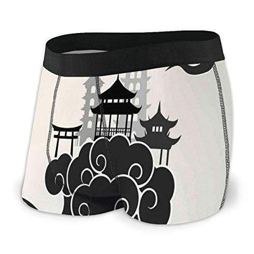 Web--ster Herren Boxer Briefs, Asian Paradise Concept Chinesische Wolken Pouff Figuren und Pavillon Größe L.