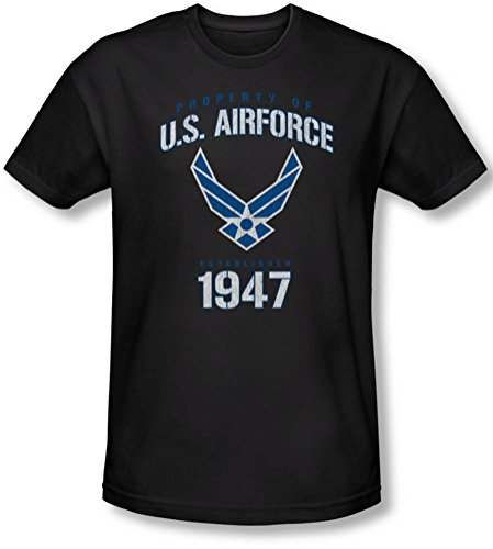 Air Force - - Propriété de Men Of Slim Fit T-Shirt, X-Large, Black