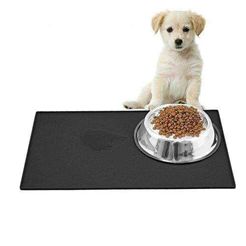 Ewolee Silikon Futtermatten, Haustier Napfunterlage, Katzen-fressnäpfe Futtermatte für Haustier, Silikon wasserdicht Anti-Rutsch FDA Tiernahrung-Matte Katzen-zubehör Fuss-Matte (48 x 30 cm), Schwarz