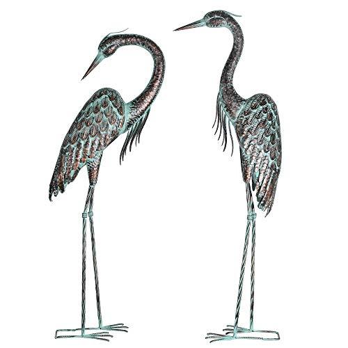 Kircust Garden Crane Statues, Standing Metal Patina Heron Decoy Outdoor Statue Large Size Bird Yard Art for Patio Lawn Pond, Set of 2
