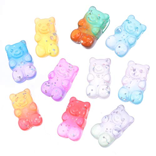 VALICLUD 50Pcs Gummy Bear Charms Colorful Bear Resin Flatback Charm for DIY Crafts Scrapbooking Jewelry Making Assorted Color