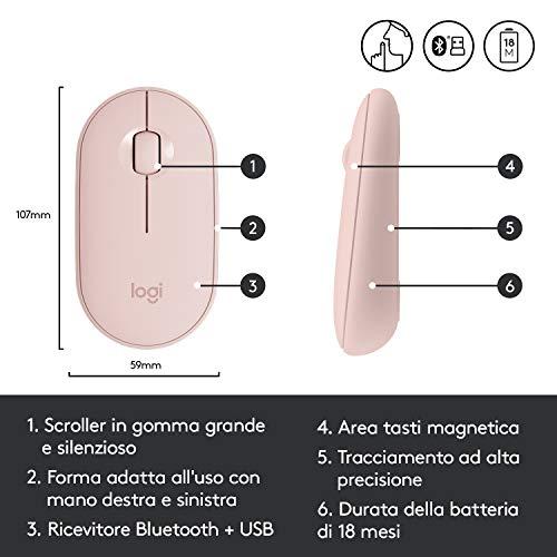 Logitech Pebble Mouse Wireless, Bluetooth o 2.4 GHz con Mini Ricevitore USB, Silenzioso, Mouse per Computer Sottile, Clic silenziosi, per PC/Mac/Laptop/iPadOS, Rosa