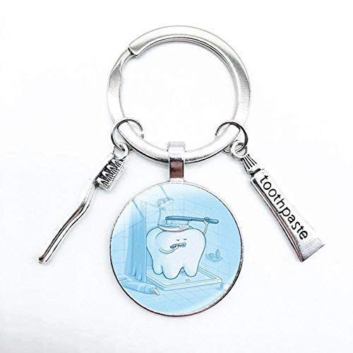 Wjlytf Schlüsselanhänger Handgemachte kreative Schlüsselbund Zahnbürste Zahnpasta während Schlüsselbund hat besondere Bedeutung, um die Persönlichkeit der Zähne zu schützen