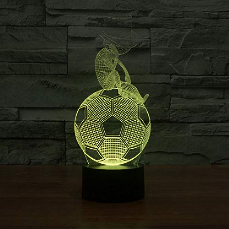 NSYW Illusion Lampe des Fuball-3D Nachtlicht-3D Acrylverfrbung Bunte Atmosphre-Lampen-Neuheit-Beleuchtung Changeable