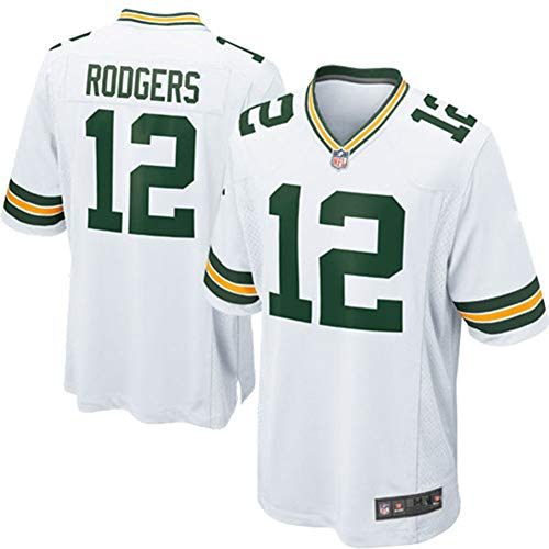 HFJLL NFL Fußball Jersey Green Bay Packers 12# T-Shirts,White,L