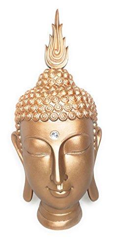 Royal Brands Shakyamuni Buddha Head Statue - Buddha Sculpture - Meditating Buddha Bust for Garden or Yard - Interior Decoration - Bronze Color - 10 X 8 X 18 Inches