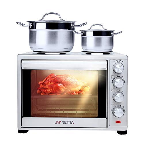 NETTA 35L Electric Mini Oven with Double Hotplate, Multiple Cooking Functions & Grill, Adjustable Temperature Control, Timer - 1500W