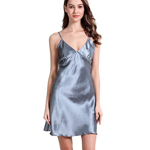 Fenverk_Nachtwäsche Damen Sexy Spitze Dessous Kleid Spaghettiträger Nachtkleid Negligee V-Ausschnitt Sleepwear Unterkleid Minikleid Sexy Nachthemd Kleid(E Grau,L)