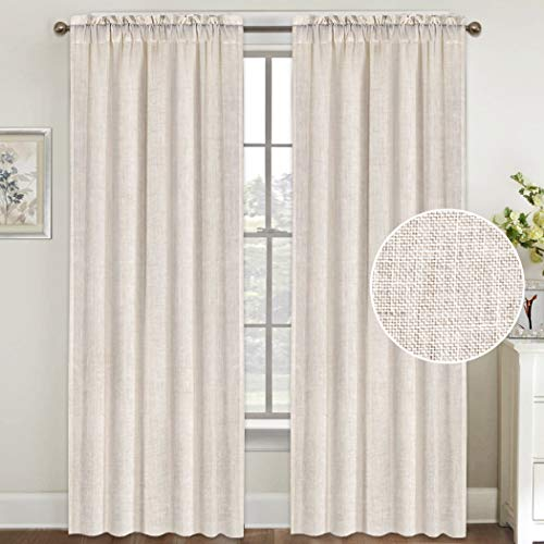 Natural Linen Curtains 96 Inches Long Rod Pocket Semi Sheer Curtain Drapes Elegant Casual Linen Textured Window Draperies, Light Filtering Privacy Added Home Fashion 2 Panels, Natural