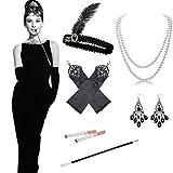 Knowing 1920s Flapper Accesorios, 5 Piezas Juego de Accesorios Cabeza Vintage Guantes Largos de satén Collar de Perlas Soporte Largo para Mujer 1920s Charleston Gatsby Retro Disfraz (Negro)