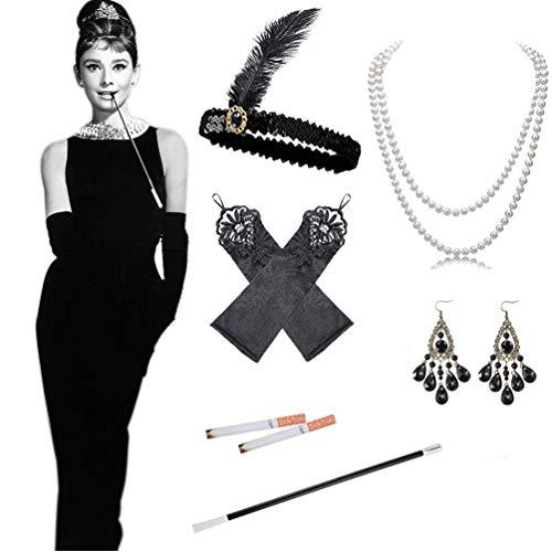 Knowing 1920s Flapper Accesorios, 5 Piezas Juego de Accesorios Cabeza Vintage Guantes Largos de satn Collar de Perlas Soporte Largo para Mujer 1920s Charleston Gatsby Retro Disfraz (Negro)