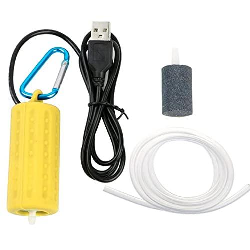 La bomba de aire de acuario portátil Mini USB pescado tanque de oxígeno de la bomba Silencio ahorro de energía Suministros Accesorios de acuario Estanque Amarillo, bomba de aire de acuario