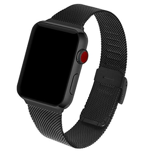 GerbGorb Cinturino per Apple Watch 38mm/40mm, Acciaio Inossidabile Cinturino in Metallo per iWatch Compatibile con Apple Watch Serie SE 6 5 4 3 2 1, 40mm Nero + Hardware Nero