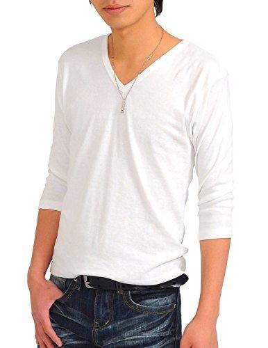 (スペイド) SPADE 七分袖Tシャツ メンズ Vネック Uネック Tシャツ 七分丈 無地 【q922】 (S, V×ホワイト)