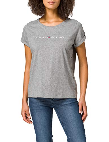 Tommy Hilfiger Damen RN Tee SS Logo, Dunkel/Grau/Htr, X-Small
