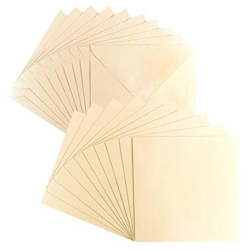 Grußkarten-Set | Perlmutt-Veredelung | 10 Karten ca. 250 g/m² + 10 Umschläge ca. 120 g/m² | In Creme | 16 cm x 16 cm