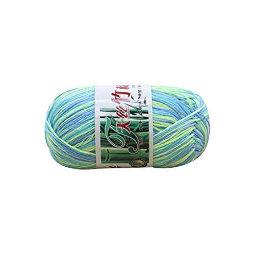 Hilo suave Tencel Hilo de múltiples hilos Hilo de tejer a mano Crochet Hilo para bebés Lana Tejido Bambú Algodón Línea de seda Tejidos de punto - azul y verde