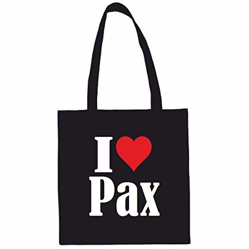 Tasche I Love Pax Größe 38x42 Farbe Weiss Druck Schwarz