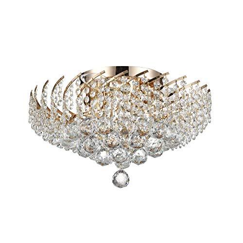 Kristall Deckenleuchte rund, echte klare Kristalltropfen, goldenes Metall, für Wohnzimmer, Schlafzimmer, Esszimmer, 6-flammig, exkl. E14 40W 220V