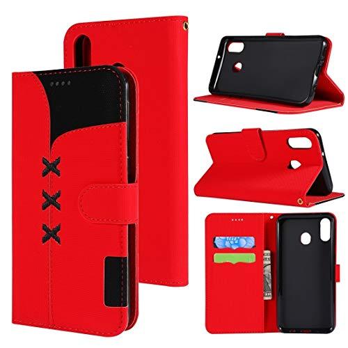 BEIJING  PROTECTIVECOVER+ / Funda de Cuero Horizontal de la Costura de la Tela con el Soporte y Las Ranuras y la Billetera para Galaxy M20 /, Fashion Phone Funda para Protector (Color : Rojo)