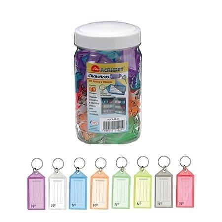 Acrimet Key Tag Jar w/ 60 Keyring Tags (Assorted Colors)