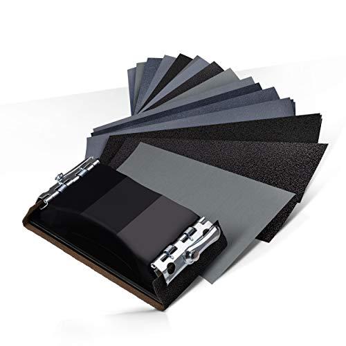 GOLDSTEIN® Schleifpapier – Schleifpapier Set aus [45] Stück mit [15] verschiedenen Körnungen – [3] Stück Sandpapier pro Körnung – Mit praktischem Schleifstein