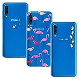 Yoowei [3-Pack] Cover per Samsung Galaxy A30s / A50 / A50s Trasparente con Disegni, Morbida Silicone Ultra Sottile TPU Gel Custodia Protettiva per Samsung A50, Aeroplano + Fenicotteri + Panda
