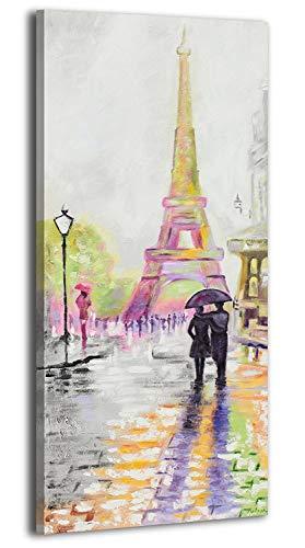 YS-Art | Cuadro Pintado a Mano Paris Adorable | Cuadro Moderno acrilico | 115x50 cm | Lienzo Pintado a Mano | Cuadros Dormitories | único | Amarillo