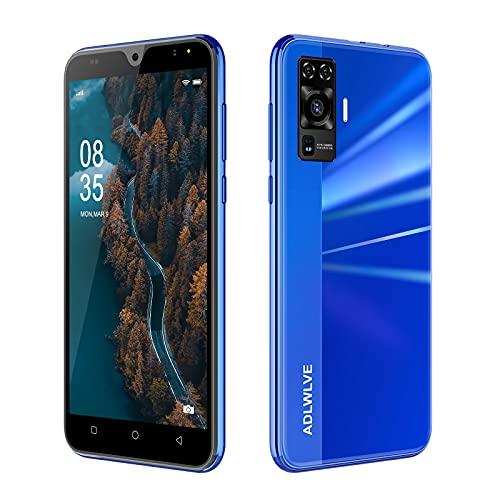 Teléfono Móvil Libres 4G, Android 9.0 Smartphone Libre, 5,5' Smartphone Barato 2GB RAM, 16GB / 64GB ROM, Dual SIM, 5MP+8MP, 3600mAh, Quad Core Smartphone Libre Face ID Movil Barato (Azul)